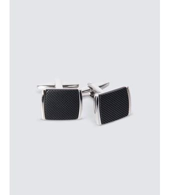 Manschettenknöpfe – Versilbert – Gerundete Quadrate mit schwarzer Einlage