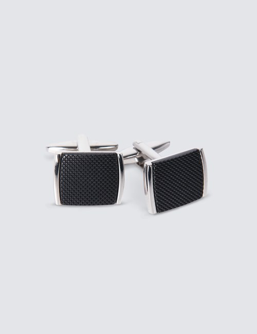 Men's Silver & Black Diamond Cut Insert Cufflink
