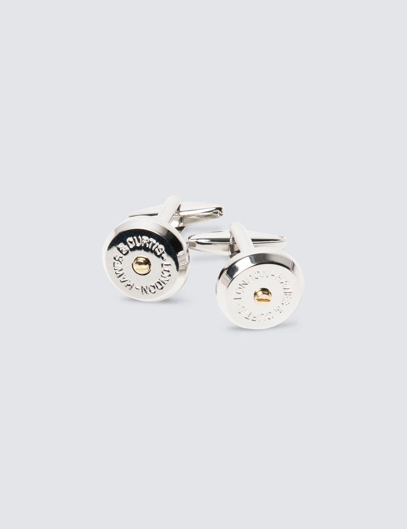 Men's Silver & Gold Screw Design Cufflinks