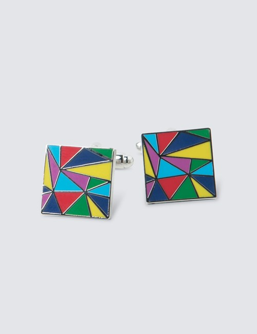 Multi-Colour Triangles Cufflink