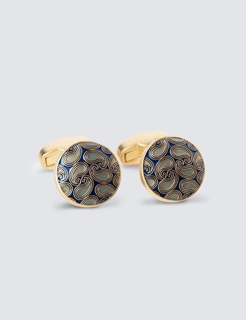 Green & Gold Round Paisley Cufflinks
