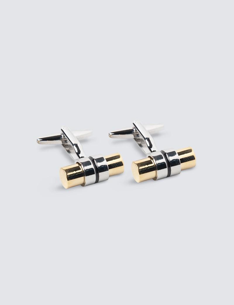 Unisex Manschettenknöpfe – Versilbert & vergoldet – Riegel