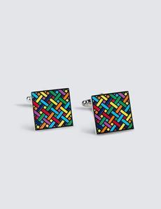 Men's Multicolour Lines Cube Cufflinks