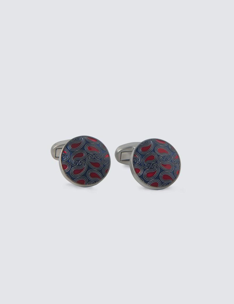 Manschettenknöpfe – Versilbert – Emaillierter Kreis mit Paisleytropfen – blau-rot