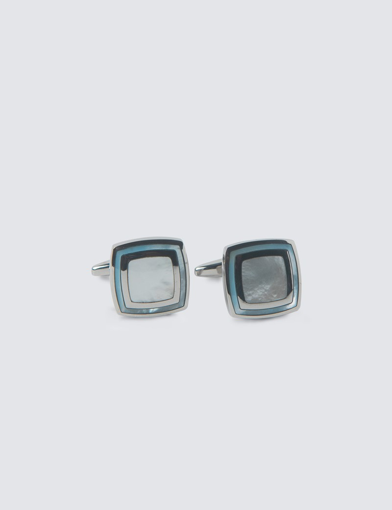 Men's Silver & Blue Square Mother Of Pearl Cufflinks