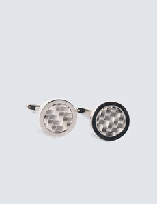 Men's Silver Round Weave Insert Cufflinks