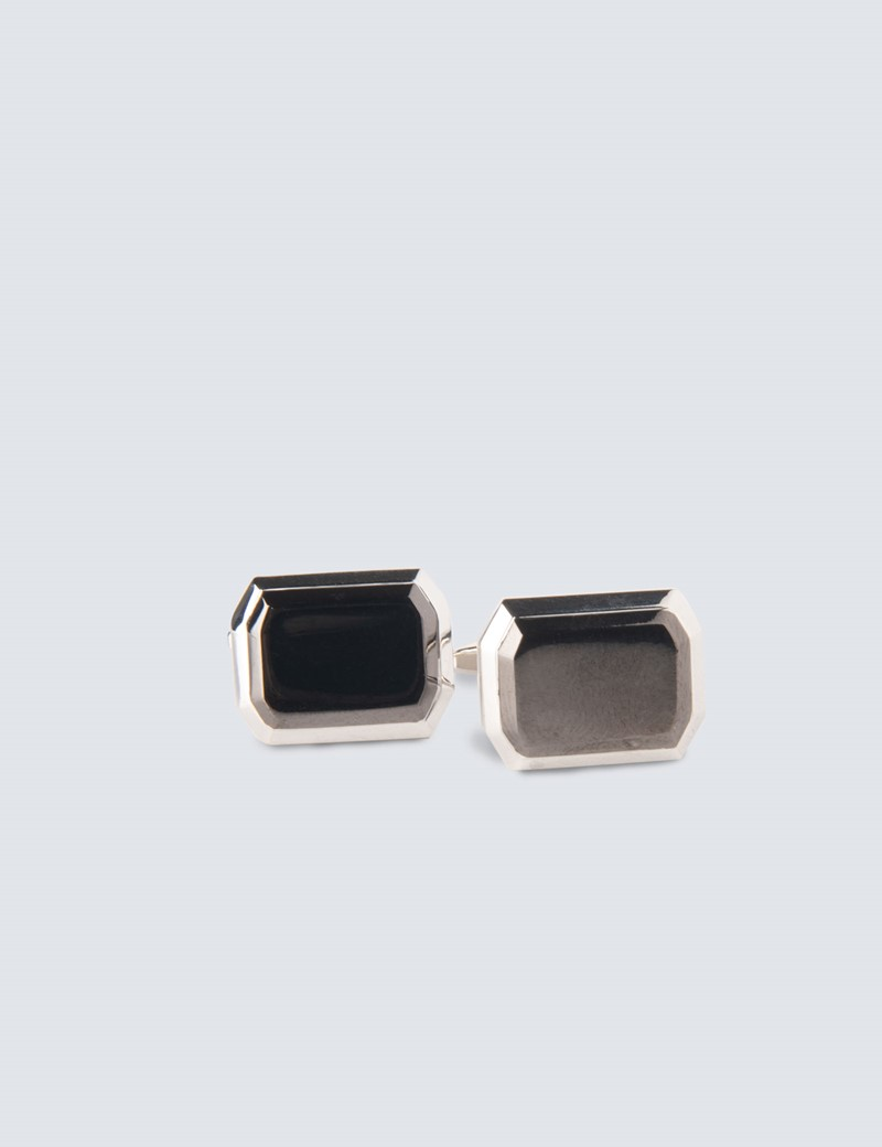 Men's Silver & Black Two Part Rectangle Cufflinks