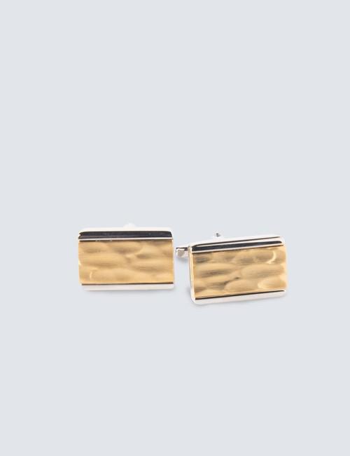 Men's Silver & Gold Insert Reflection Cufflinks