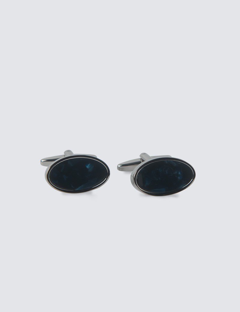 Men's Blue Concave Cufflinks