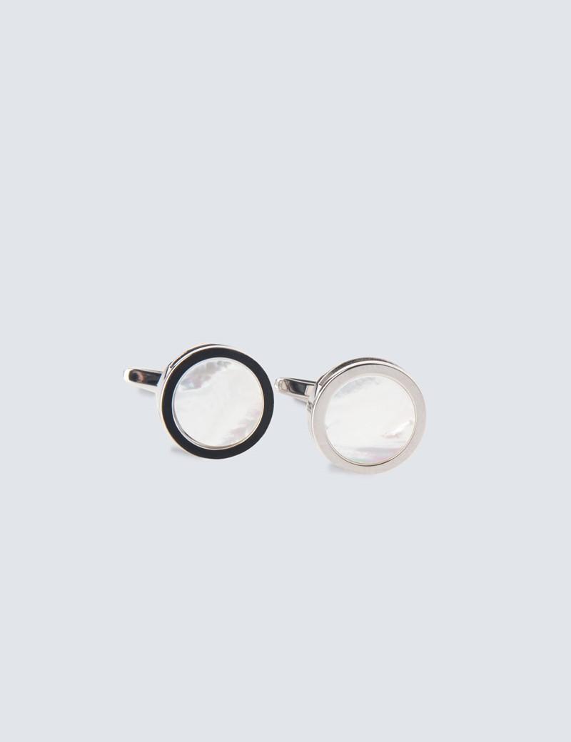 Silver & Clear Round Cufflinks