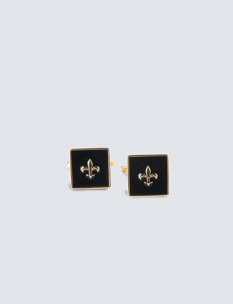 Men's Gold & Black Square Shield Cufflinks