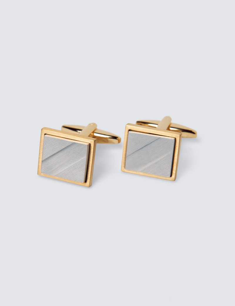 Men's Silver & Gold Square Cufflinks