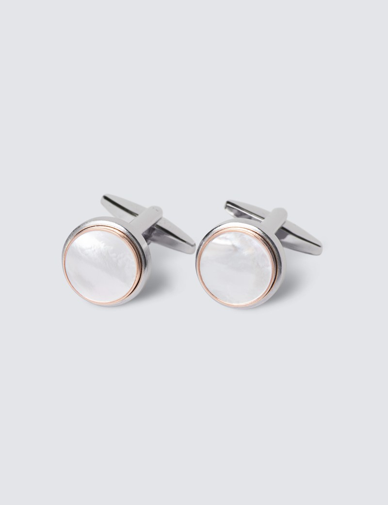 Men's Silver & Clear Round Mother Of Pearl Cufflinks