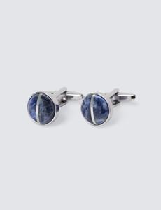 Men's Silver & Blue Round Cufflinks