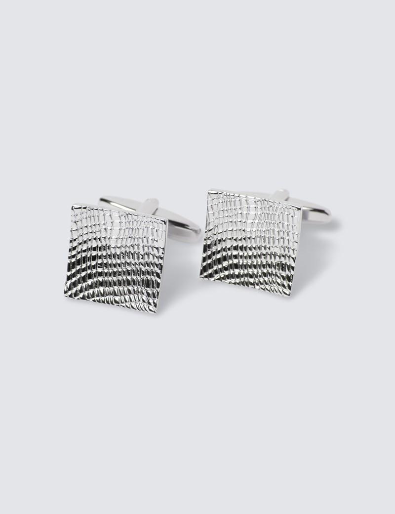 Men's Silver Curvy Scales Cufflinks