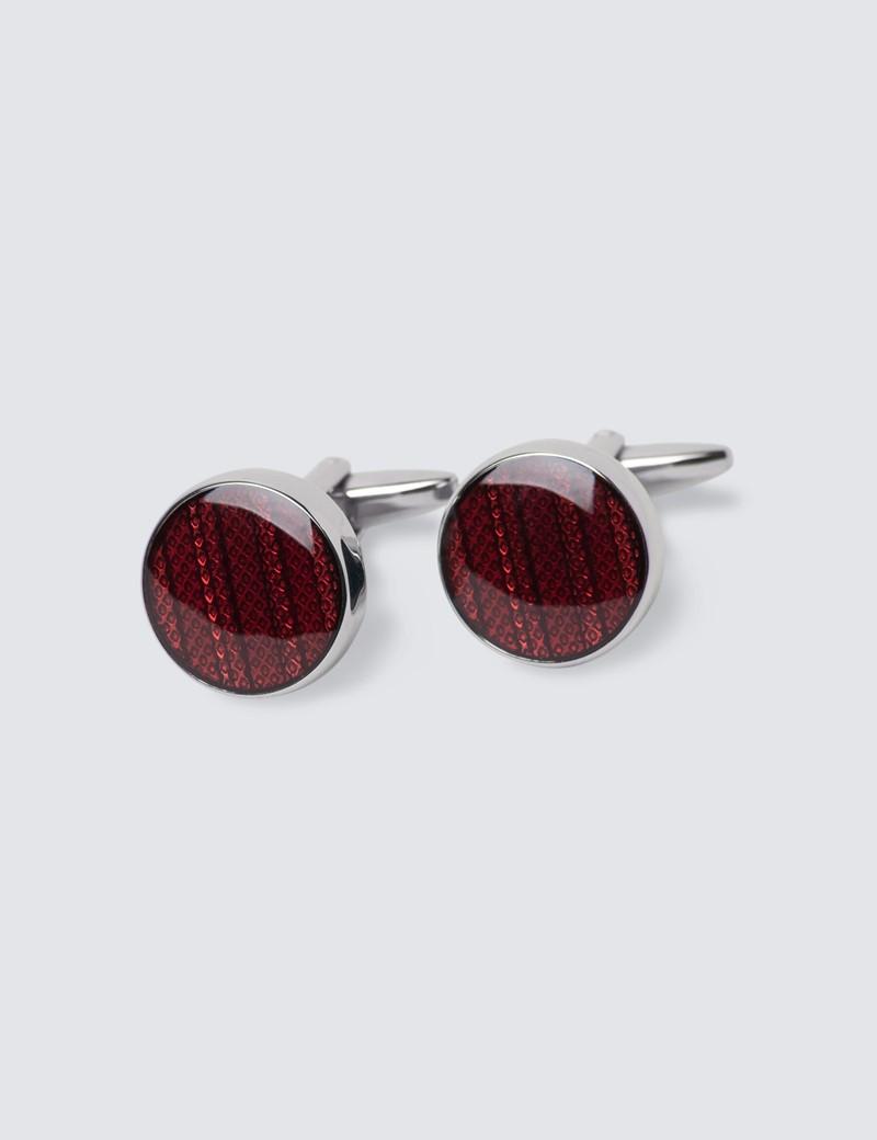 Men's Red Round Coloured Centre Cufflinks