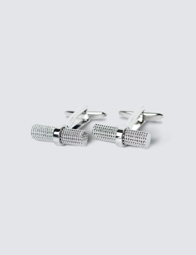 Men's Silver Diamond Cut Log Cufflinks