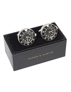 Men's Silver & Black Watch Cufflink