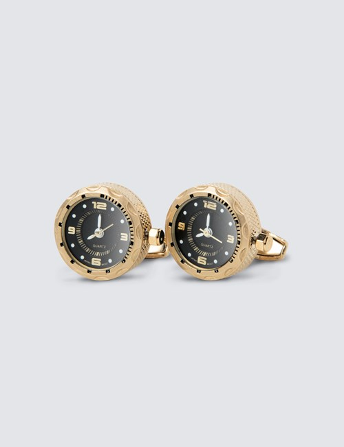 Men's Gold & Black Watch Cufflink