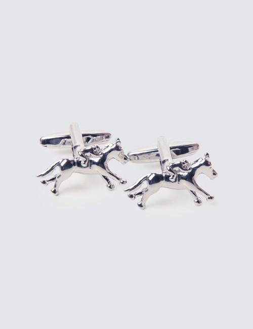 Silver Horse & Jockey Cufflinks