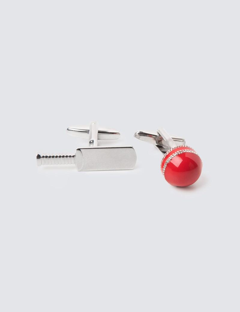 Men's Silver & Red Cricket Bat & Ball Cufflinks