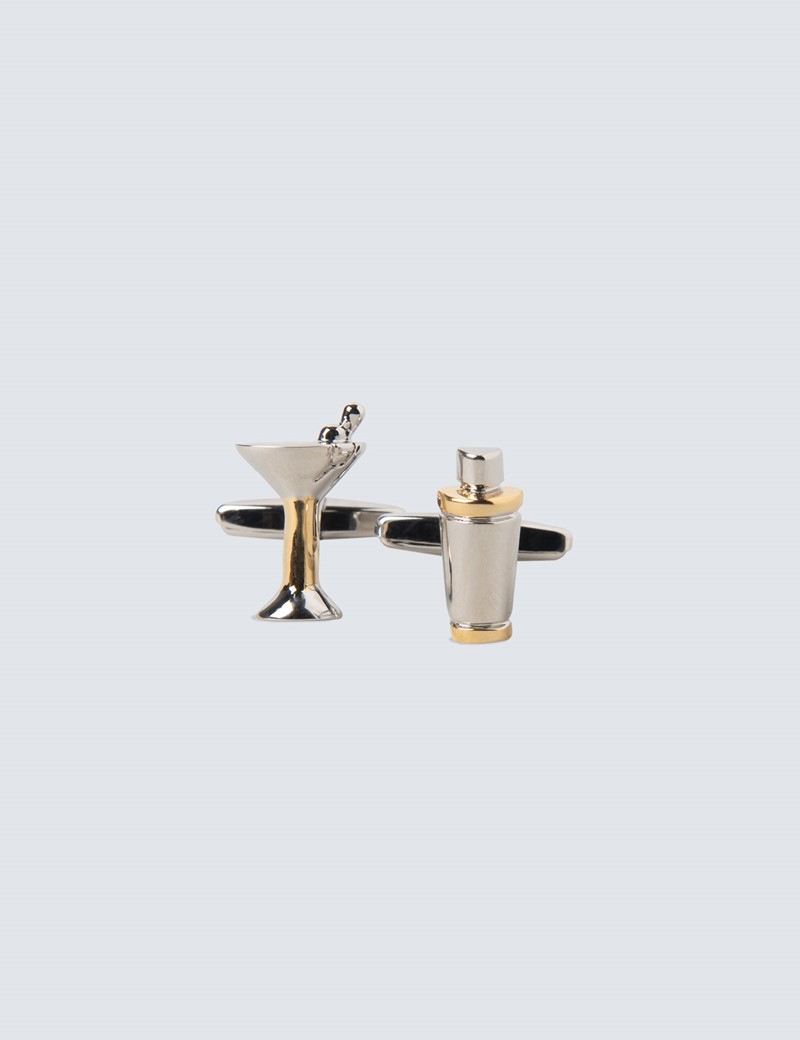 Silver & Gold Glass and Shaker Cufflinks