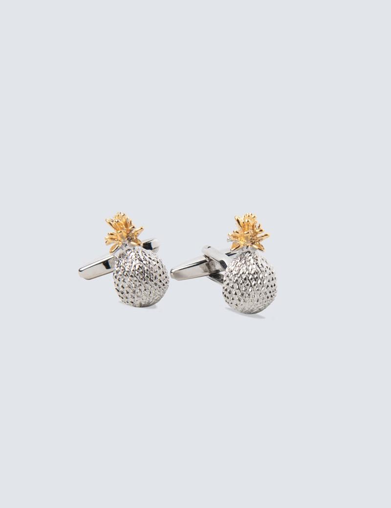 Manschettenknöpfe – Silber & Gold – Ananas