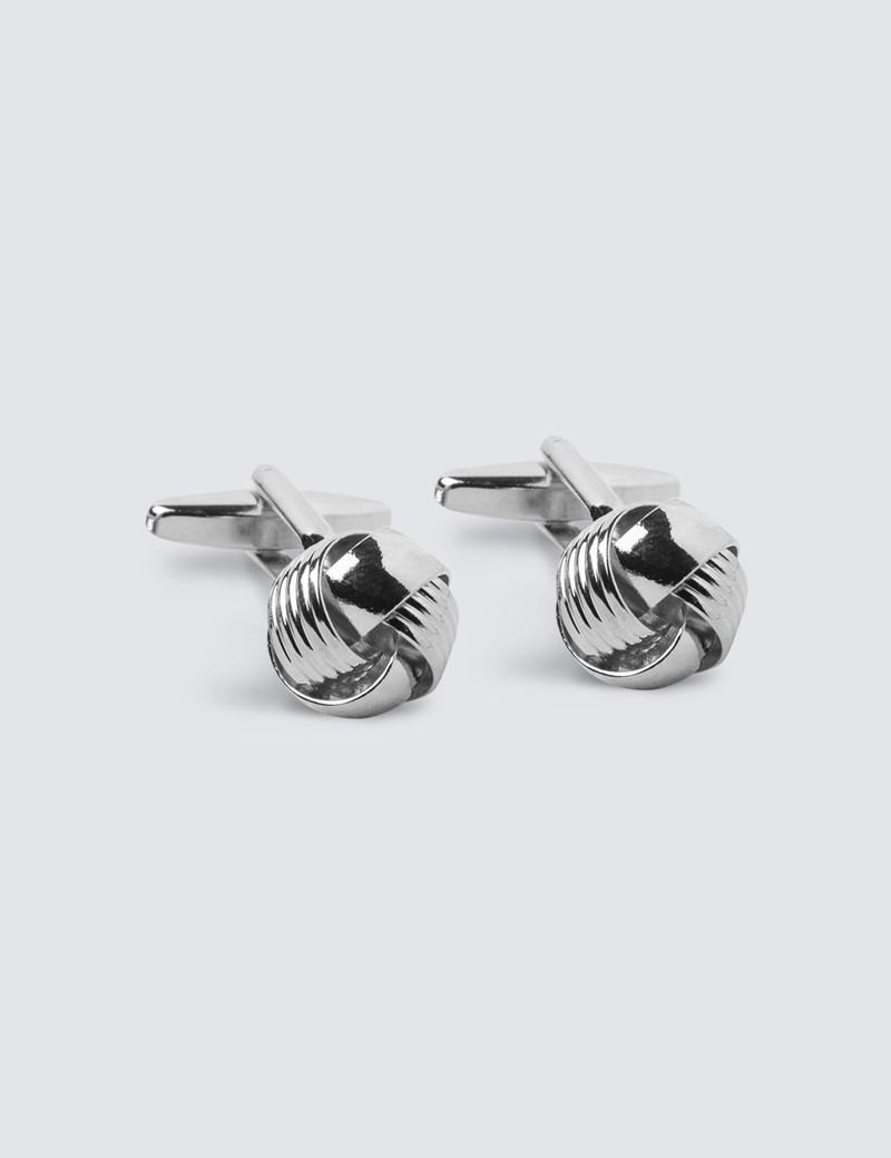 Manschettenknöpfe Unisex – Rhodiniert – Silberne Knoten
