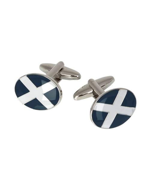 Men's Navy & White Scottish Cross Cufflink