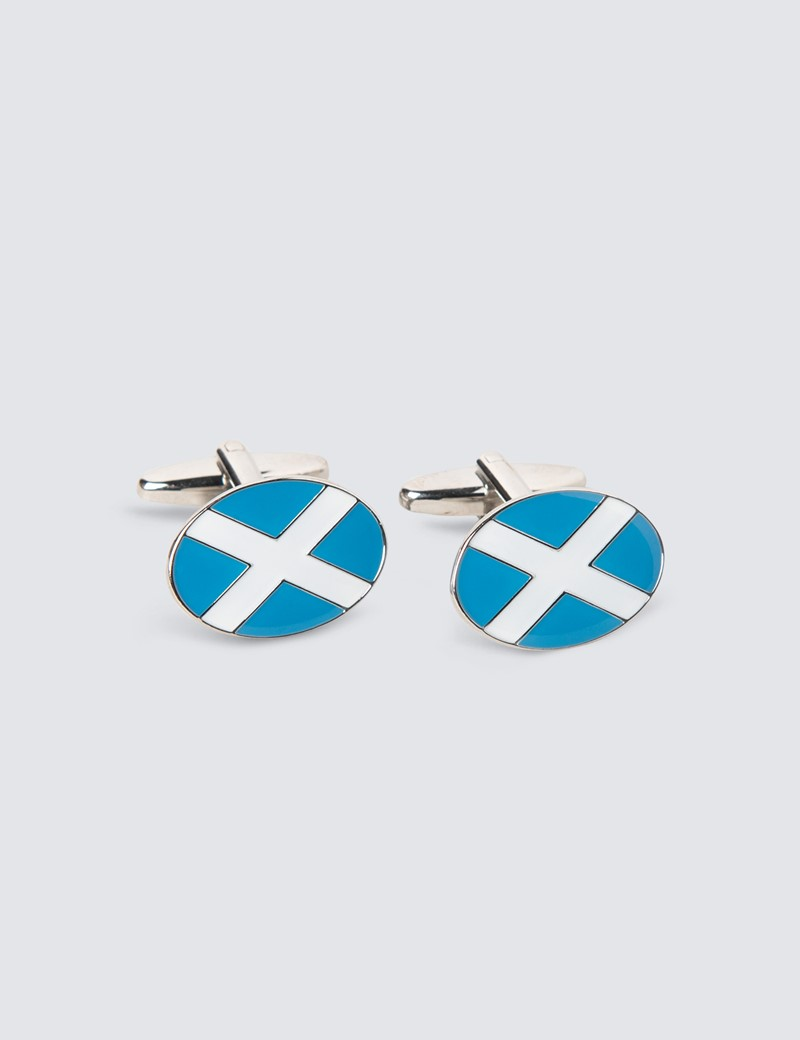 Men's Blue & White Scottish Cross Cufflinks