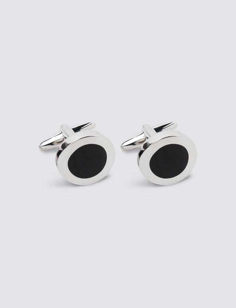 Men's Black & Silver Round Cufflink
