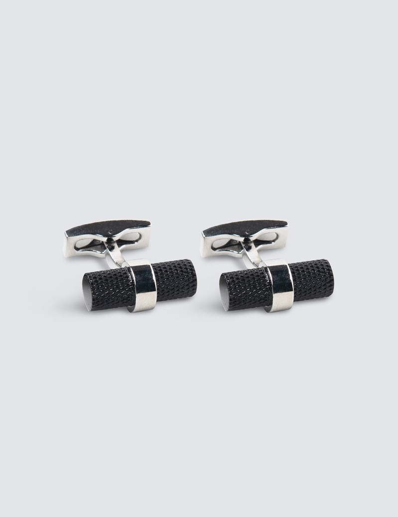 Men's Black  Log H&C Cufflink