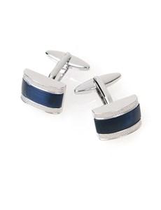 Manschettenknöpfe Herren – Rhodiniert – Geschwungen mit blauer Einlage