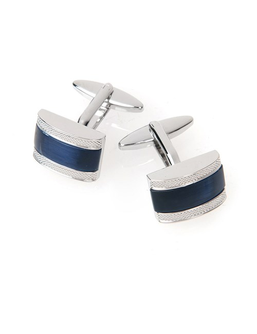 Navy Curved Bordered Barrel Cufflink