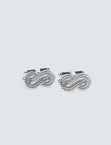 Manschettenknöpfe Unisex – Schwenkbügel – Knoten silber