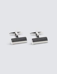Men's Silver & Black Log Insert Cufflink