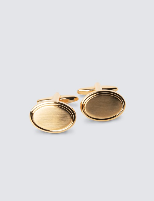 Men's Brushed Gold Oval Cufflinks