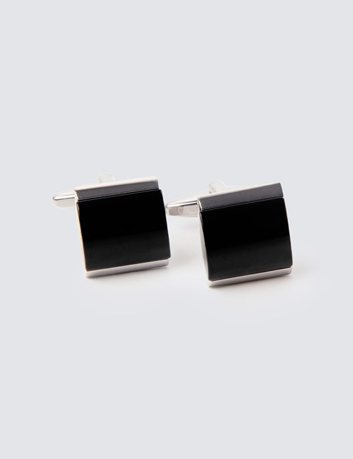 Men's Silver & Black Curved Stone Cufflinks