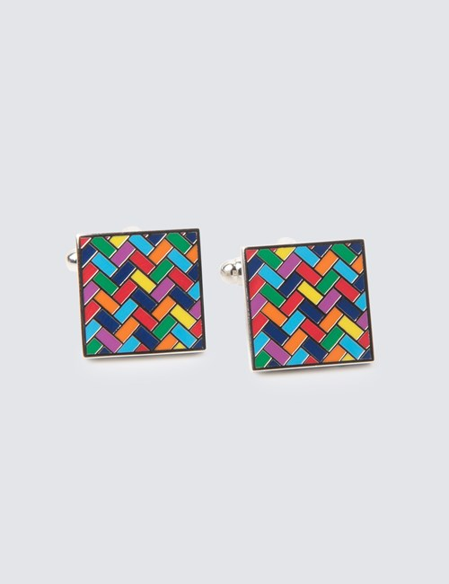 Men's Multi Colour Tiles Cufflinks