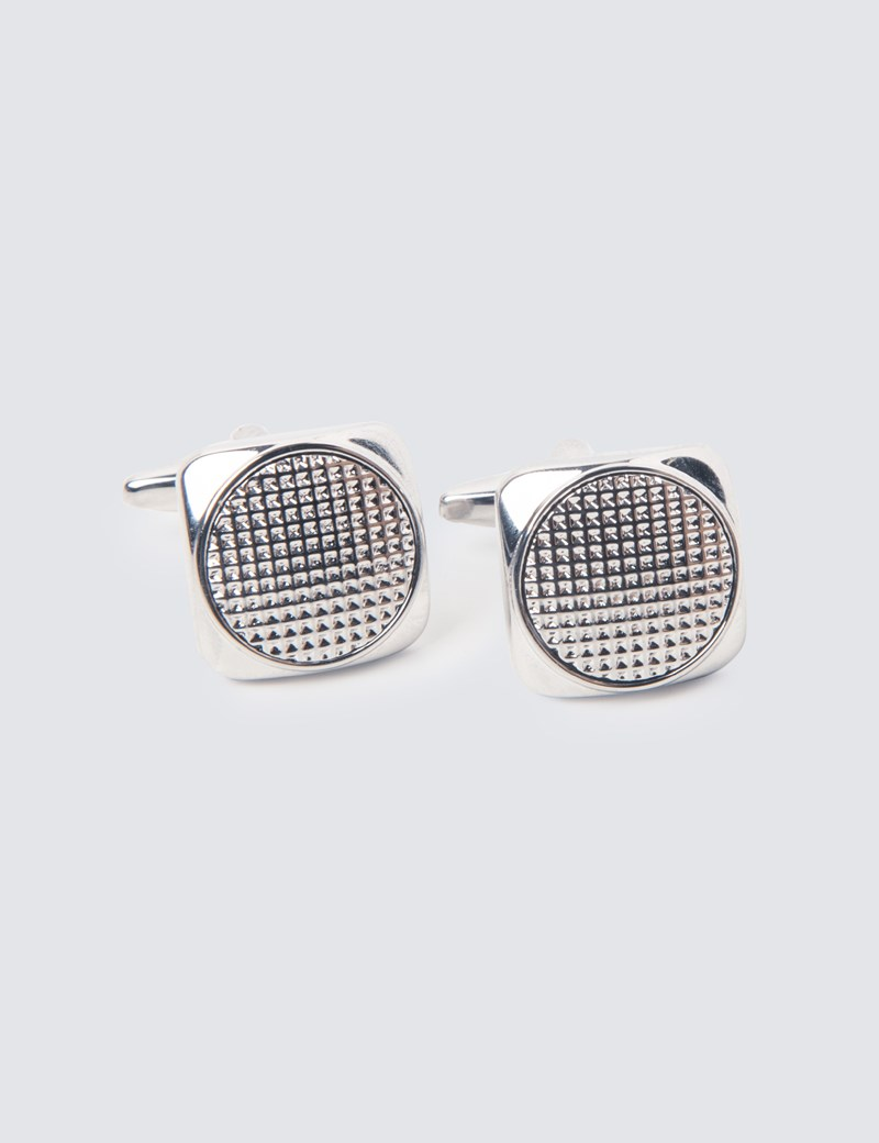 Men's Silver Diamante Cut Cufflinks