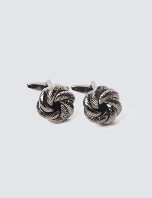 Men's Gun Metal Chunky Knot Cufflinks