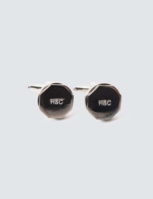 Men's Silver & Black Round Cufflinks