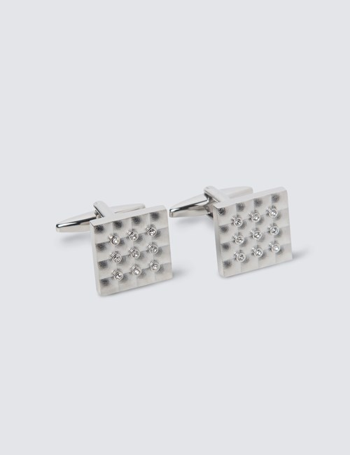 Men's Silver Diamante Square Cufflinks