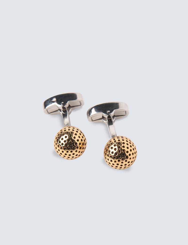 Manschettenknöpfe – Gold – Perforierte Kugel