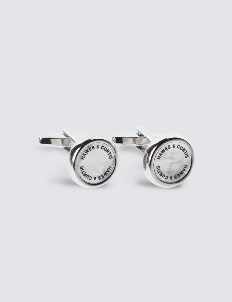 Men's Silver & Clear Hawes and Curtis Round Cufflinks