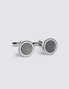 Manschettenknöpfe Herren – Versilbert – Rund Emaille-Einlage weiß