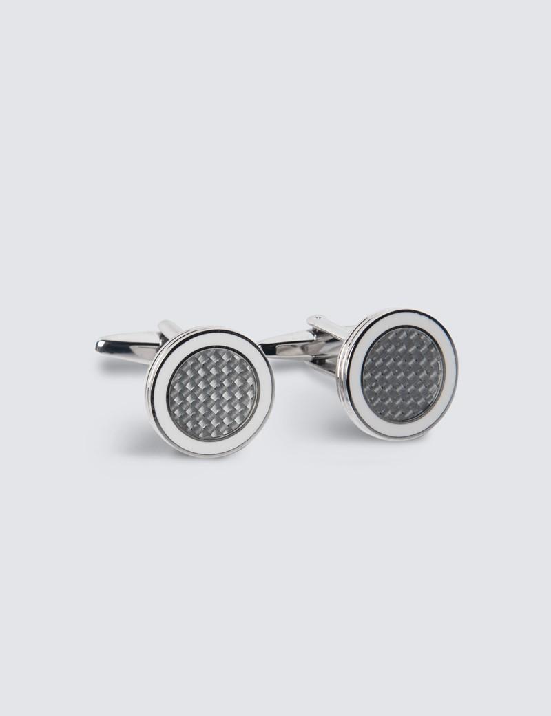 Men's Silver & White Enamel Ring Cufflinks