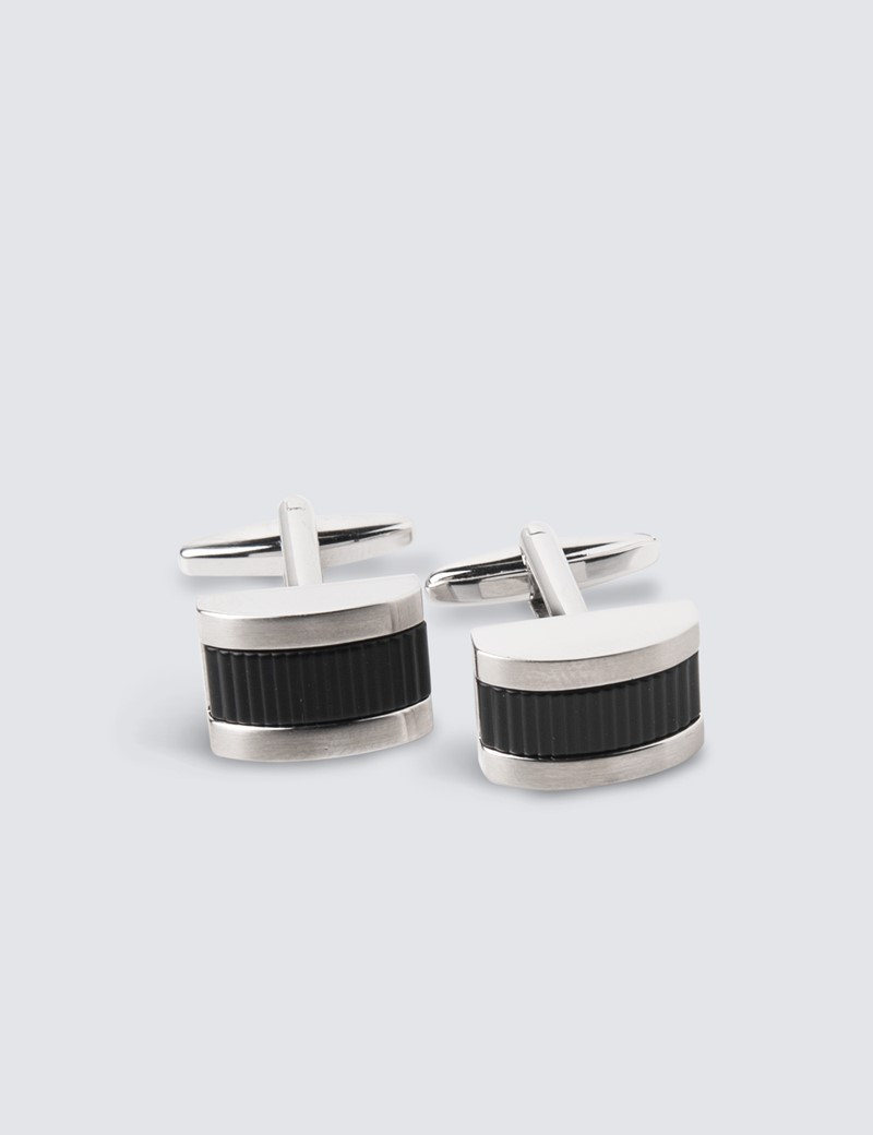 Men's Silver & Black Barrel Insert Cufflinks