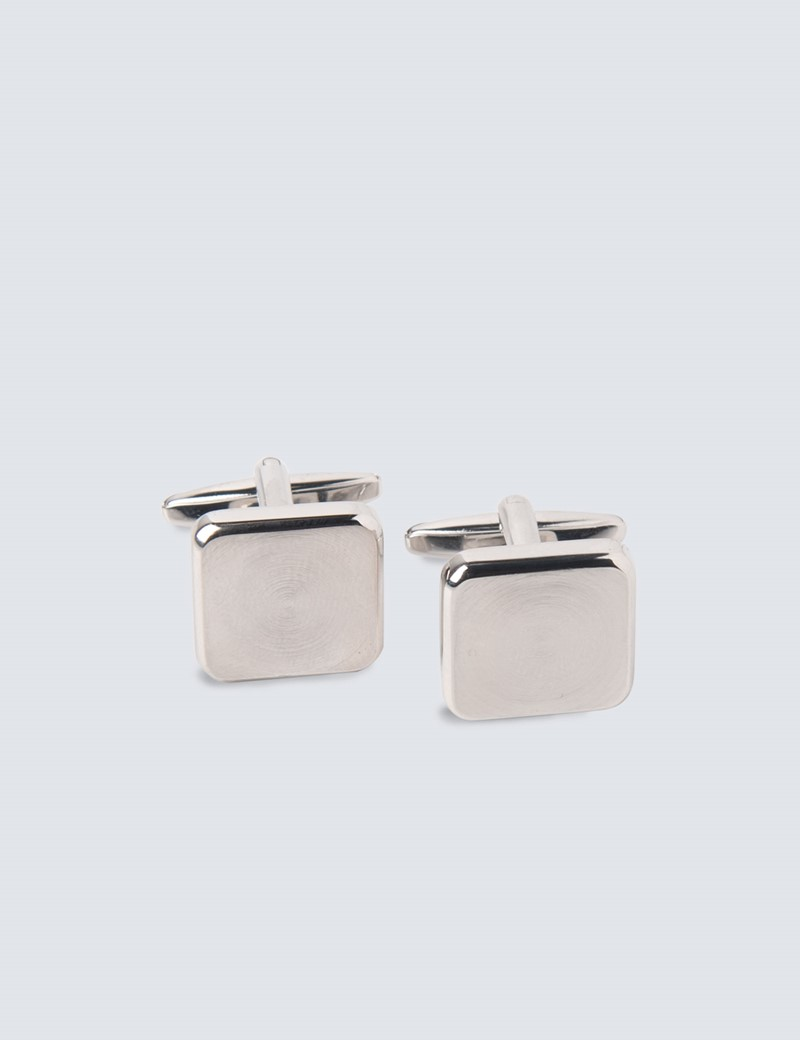 Men's Silver Square Etched Circles Cufflinks