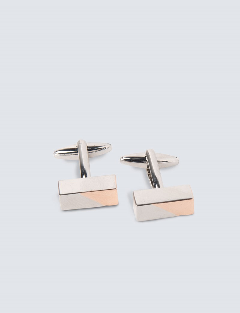 Men's Silver & Rose Gold Two Tone Long Cufflinks